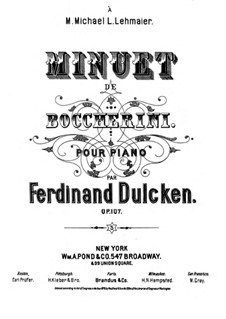 String Quintet No.5 in E Major, G.275 Op.107: Minuet, for piano by Luigi Boccherini
