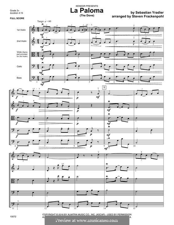 La Paloma (The Dove): Full Score by Sebastián Yradier