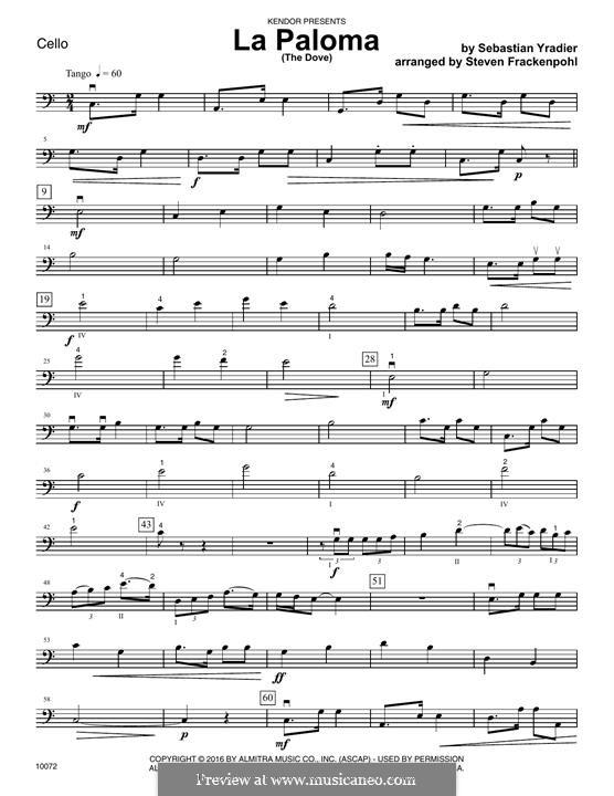 La Paloma (The Dove): Cello part by Sebastián Yradier