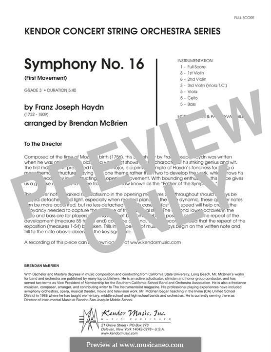 Symphony No.16 in B Flat Major, Hob.I/16: Movement I, for strings – Full Score by Joseph Haydn