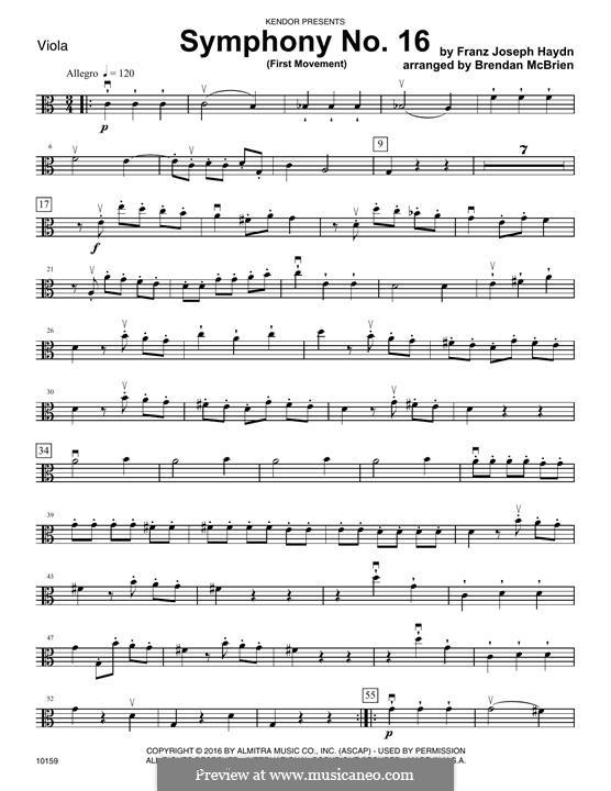 Symphony No.16 in B Flat Major, Hob.I/16: Movement I, for strings – Viola part by Joseph Haydn