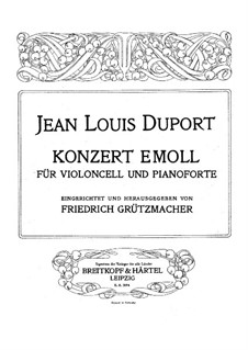 Concerto for Cello and Orchestra No.4 in E Minor: Version for cello and piano – cello part by Jean-Louis Duport