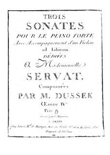 Sonata for Piano and Violin ad libitum No.3 in F Minor, Op.4 Craw 39: Sonata for Piano and Violin ad libitum No.3 in F Minor by Jan Ladislav Dussek