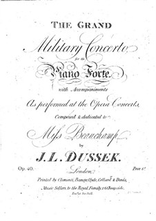 Piano Concerto in B Flat Major, Op.40 Craw 153: Piano Concerto in B Flat Major by Jan Ladislav Dussek