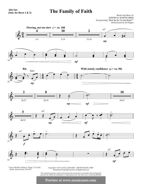 The Family of Faith: Alto Sax 1-2 (sub. Horn 1-2) part by Joseph M. Martin
