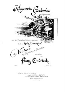Poetic Tone Pictures, B.161 Op.85: No.6, for violin and piano by Antonín Dvořák