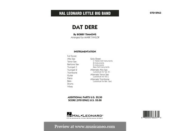 Dat Dere (Cannonball Adderley): Full Score by Bobby Timmons