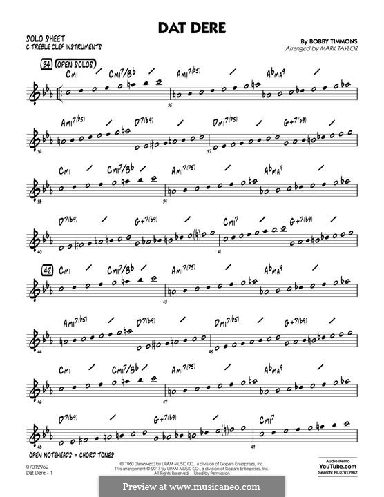 Dat Dere (Cannonball Adderley): C Solo Sheet part by Bobby Timmons