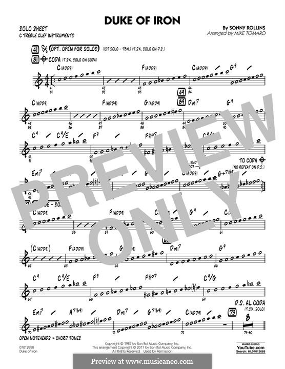 Duke of Iron: C Solo Sheet part by Sonny Rollins