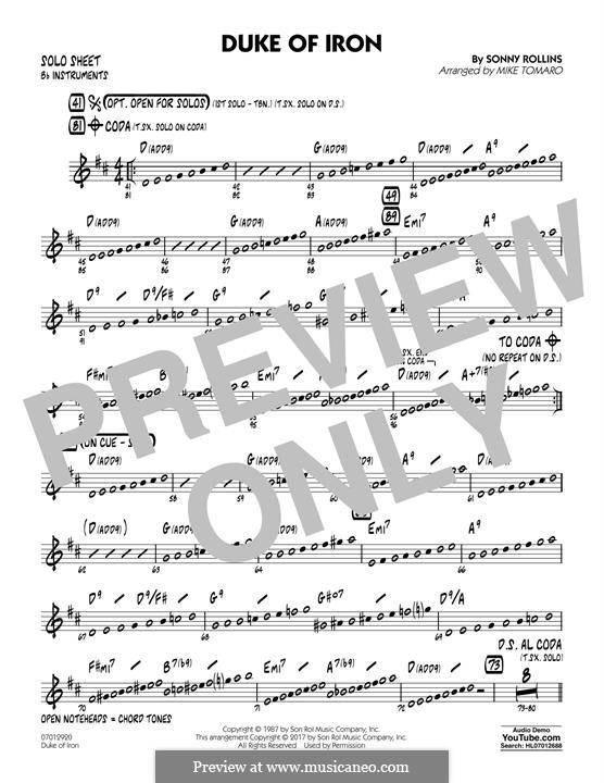 Duke of Iron: Bb Solo Sheet part by Sonny Rollins