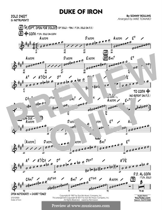 Duke of Iron: Eb Solo Sheet part by Sonny Rollins