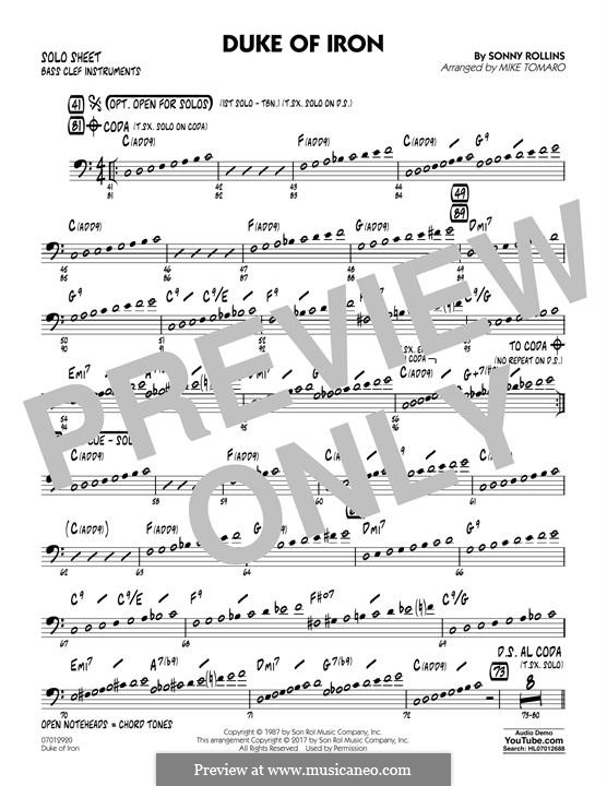 Duke of Iron: Bass Clef Solo Sheet part by Sonny Rollins