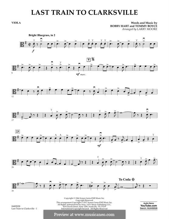 Last Train to Clarksville (The Monkees): Viola part by Bobby Hart, Tommy Boyce