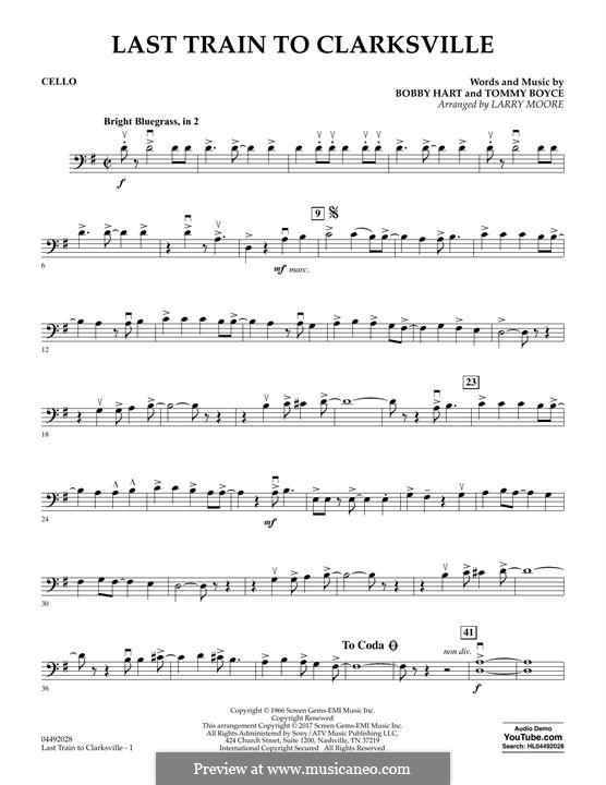 Last Train to Clarksville (The Monkees): Cello part by Bobby Hart, Tommy Boyce