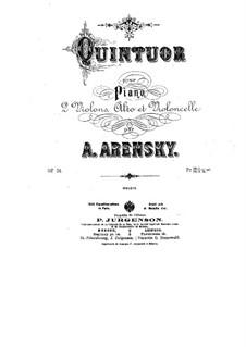Piano Quintet in D Major, Op.51: Full score, parts by Anton Arensky