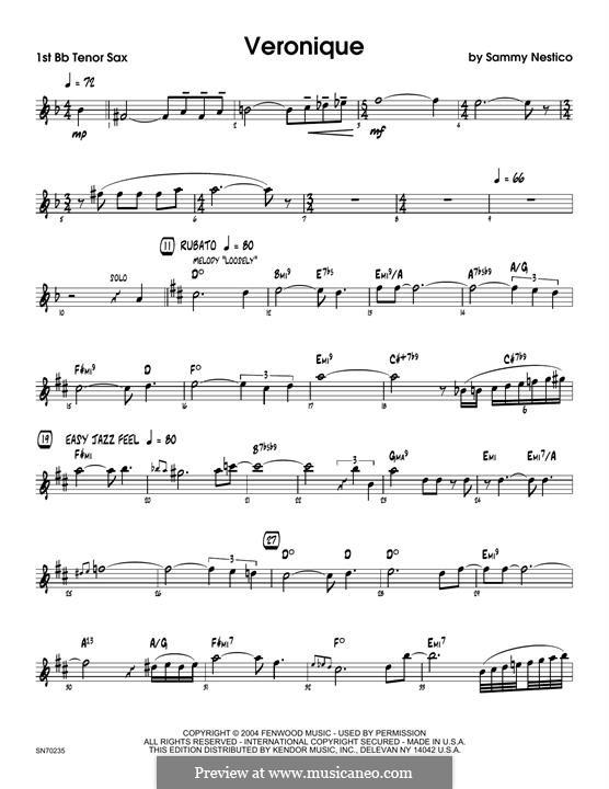 Veronique: 1st Tenor Saxophone part by Sammy Nestico