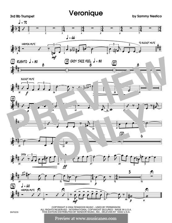 Veronique: 3rd Bb Trumpet part by Sammy Nestico