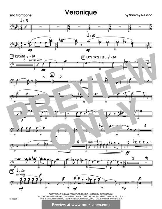 Veronique: 2nd Trombone part by Sammy Nestico