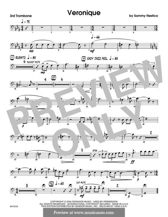 Veronique: 3rd Trombone part by Sammy Nestico