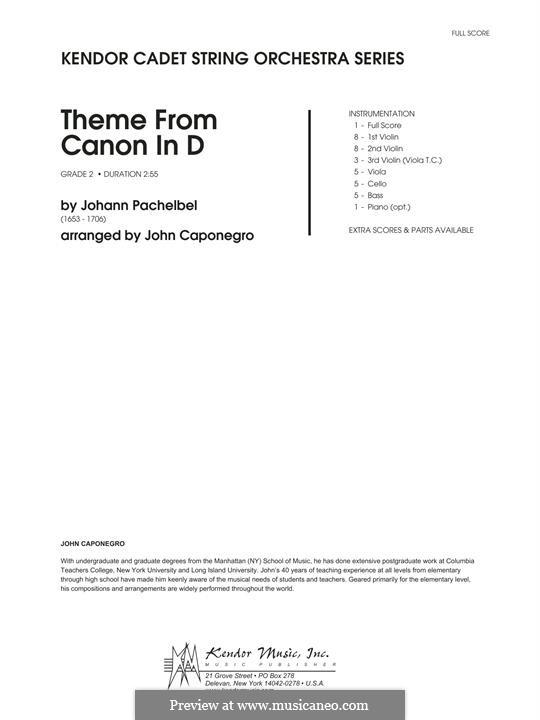 Canon in D Major (Printable): Theme, for strings – Full Score by Johann Pachelbel