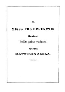 Missa pro defunctis (Mass for the Dead): Missa pro defunctis (Mass for the Dead) by Giammateo Asola