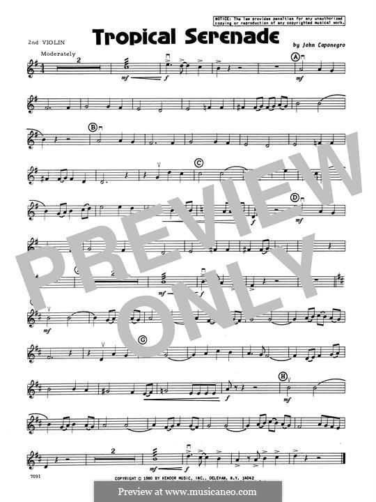 Tropical Serenade: 2nd Violin part by John Caponegro