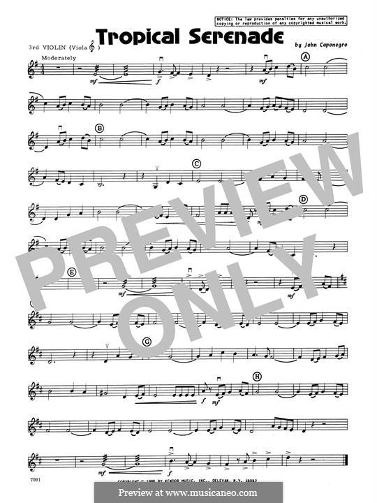 Tropical Serenade: 3rd Violin part by John Caponegro