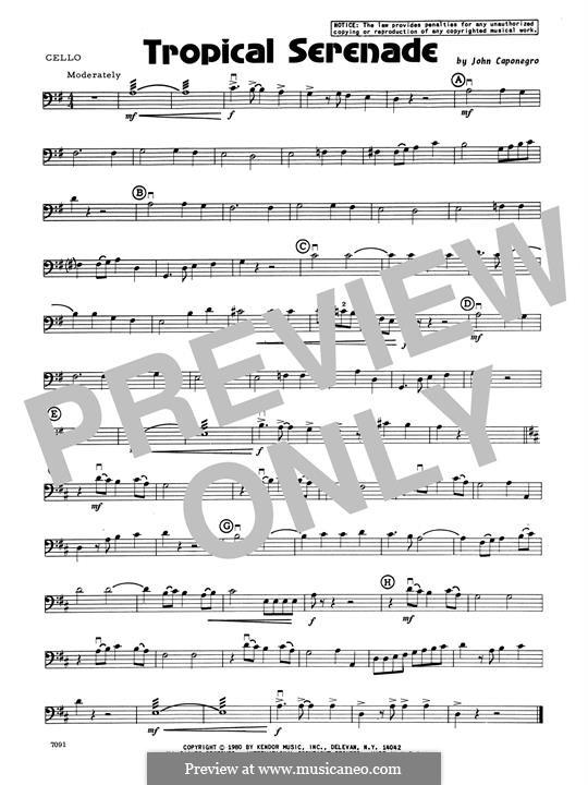 Tropical Serenade: Cello part by John Caponegro