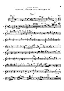 Concerto for Violin, Cello and Orchestra in A Minor, Op.102: Oboes parts by Johannes Brahms
