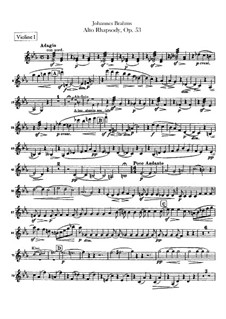 Alto Rhapsody, Op.53: Violins parts by Johannes Brahms