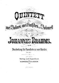 String Quintet No.1 in F Major, Op.88: Version for piano four hands by Johannes Brahms