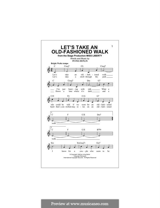 Let's Take an Old-Fashioned Walk: For keyboard by Irving Berlin