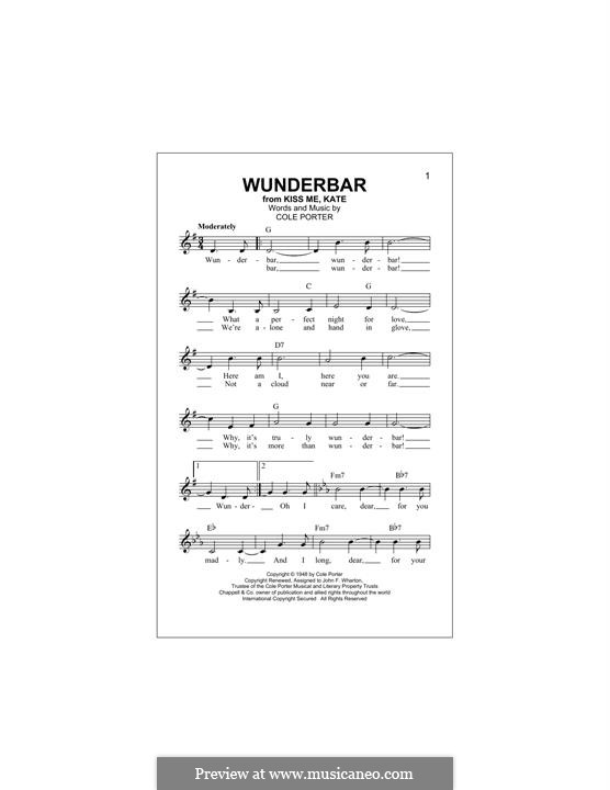 Wunderbar: For keyboard by Cole Porter