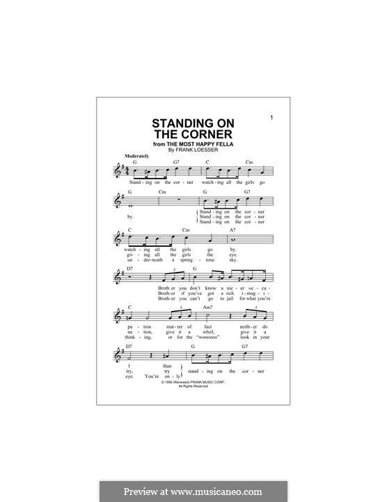 Standing on the Corner (The Four Lads): For keyboard by Frank Loesser