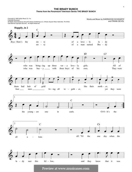 The Brady Bunch: For keyboard by Frank Devol