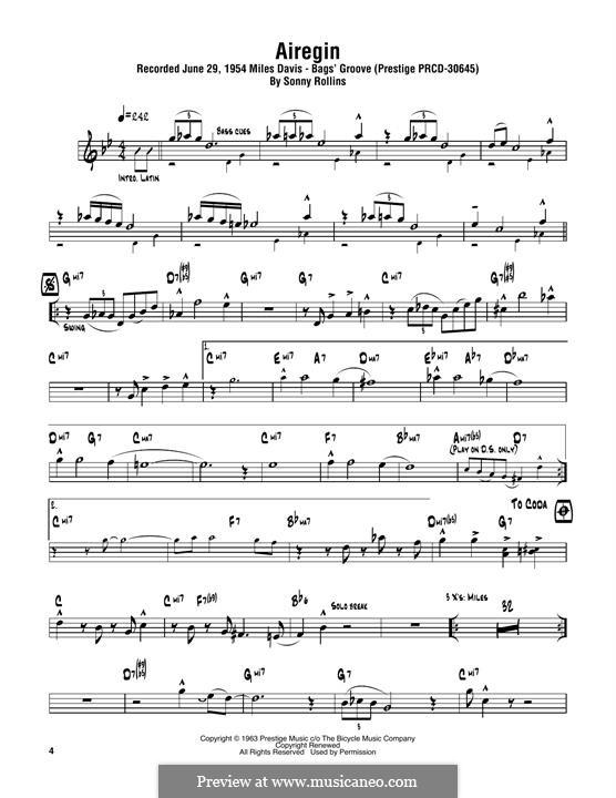 Airegin (John Coltrane): For tenor saxophone by Sonny Rollins