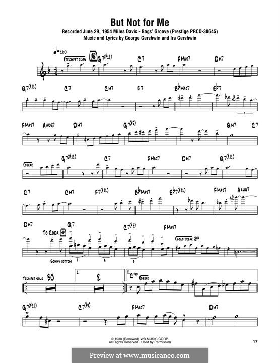But not for Me: For tenor saxophone by George Gershwin