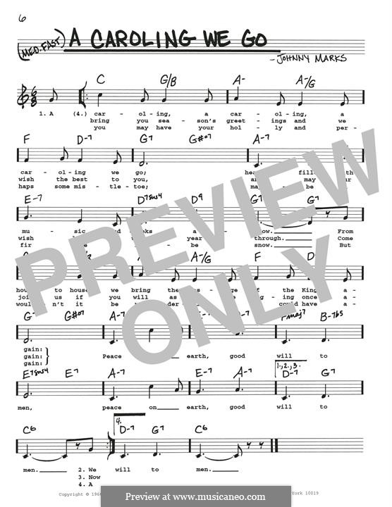 A Caroling We Go: Melody line by Johnny Marks