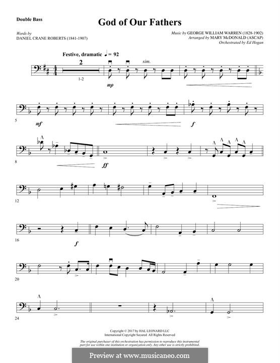 God of Our Fathers: Double Bass part by George William Warren