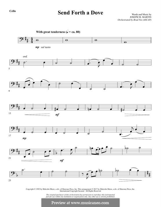 Send Forth a Dove: Cello part by Joseph M. Martin