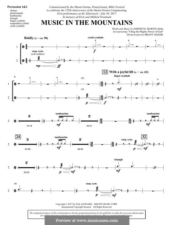 Music in the Mountains: Percussion 1 & 2 part by Joseph M. Martin