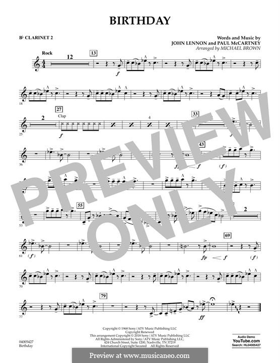 Birthday (Concert Band version): Bb Clarinet 2 part by John Lennon, Paul McCartney