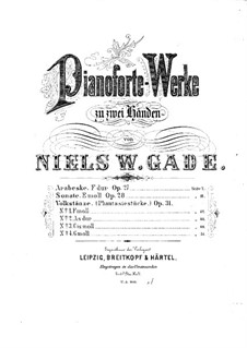Selected Pieces for Piano, Op.27, 28, 31: Selected Pieces for Piano by Niels Wilhelm Gade