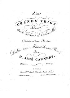 Six Grand String Trios: Violin II part by H. Aimé Garnery