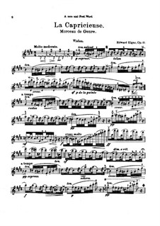 La capricieuse for Violin and Piano, Op.17: Score for two performers, solo part by Edward Elgar