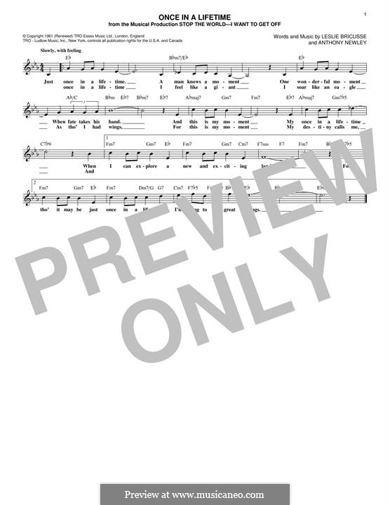 Once in a Lifetime (from the musical Stop the World - I Want to Get Off): For keyboard by Anthony Newley
