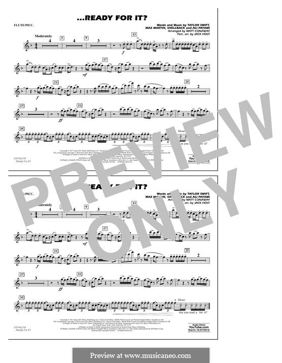 ...Ready for It? (arr. Matt Conaway): Flute/Piccolo part by Shellback, Max Martin, Taylor Swift, Ali Payami
