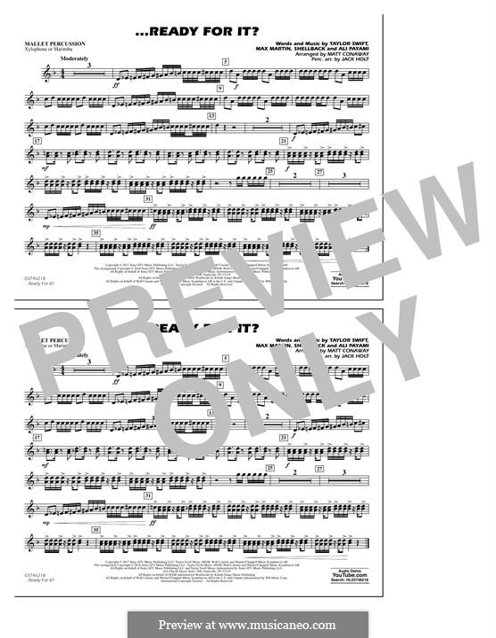 ...Ready for It? (arr. Matt Conaway): Mallet Percussion part by Shellback, Max Martin, Taylor Swift, Ali Payami