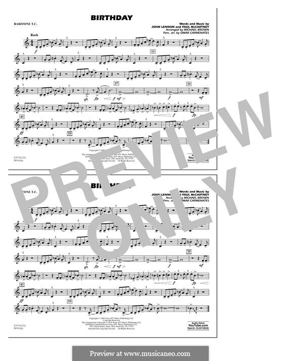 Birthday (Marching Band version): Baritone T.C. part by John Lennon, Paul McCartney