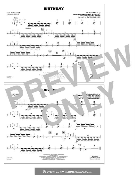 Birthday (Marching Band version): Aux Percussion part by John Lennon, Paul McCartney